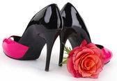 Black pink high heel shoe — Stock Photo