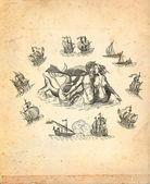 старый пират карта — Стоковое фото