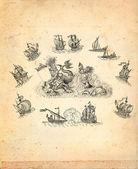 Mapa antigo pirata — Foto Stock