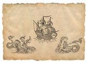 Alte piraten-karte — Stockfoto