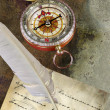 Royalty-Free Stock Photo: Retro compass with paper