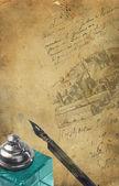 Gamla vykort med penna — Stockfoto