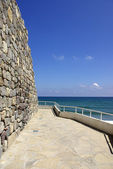 Old wall with sea view — 图库照片