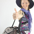 Beautiful girl with modern bag — Stockfoto