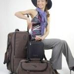 Beautiful girl with modern bags — Stock Photo