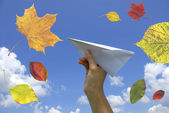 Paper airplane in a hand — Stock Photo