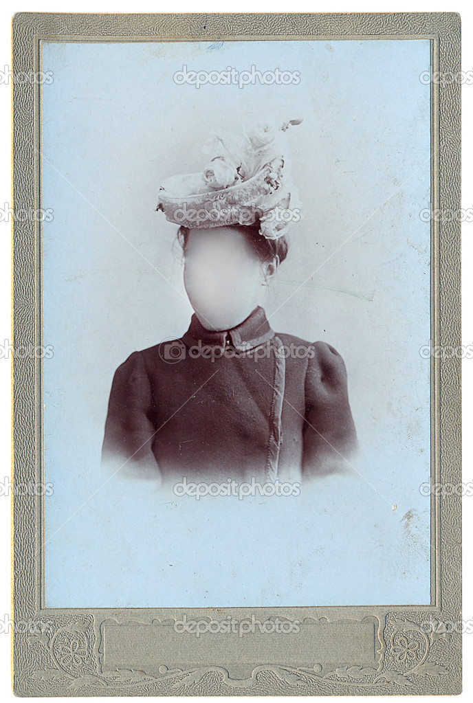 Retro photo of woman.Face cloned out. You can use the frame or add your own face.  — Stock Photo #11982255
