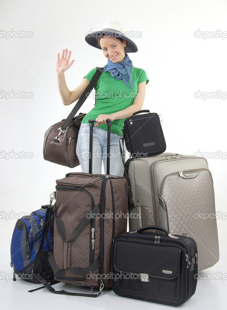 Beautiful girl with modern bags  Stock Photo #11985040