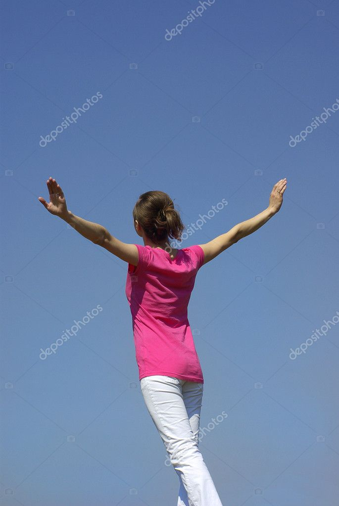 Girl on sky background — Stock Photo #11988610