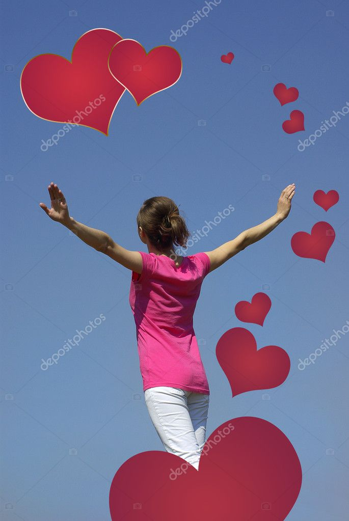 Girl on sky background  Stock Photo #11988647