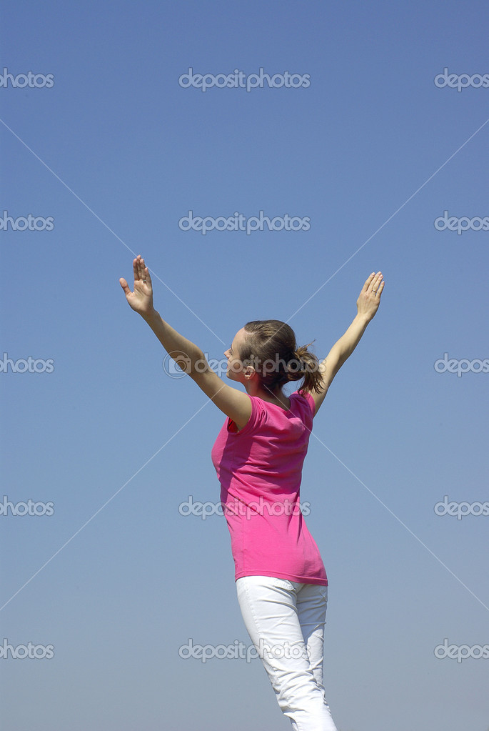 Girl on sky background — Stock Photo #11988675