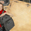 Beautiful girl with backpack illustration — Stock Photo