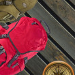 Modern backpacks with compass - Stock Photo