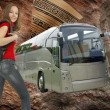 Foto Stock: Beautiful girl with backpack and ravel bus illustration