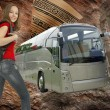 Beautiful girl with backpack and ravel bus illustration — Stock Photo
