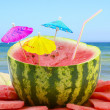 Watermelon on beach background — Stockfoto #11997235