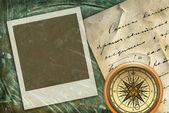Vecchio sfondo lettera con telaio — Foto Stock