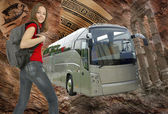Beautiful girl with backpack and ravel bus illustration — Stok fotoğraf