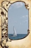 Ram papper bakgrund med havsutsikt — Stockfoto