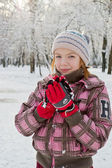 A child is in a snow-bound park — Stock Photo