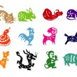 Royalty-Free Stock Vector Image: 12 Animals of Chinese Calendar