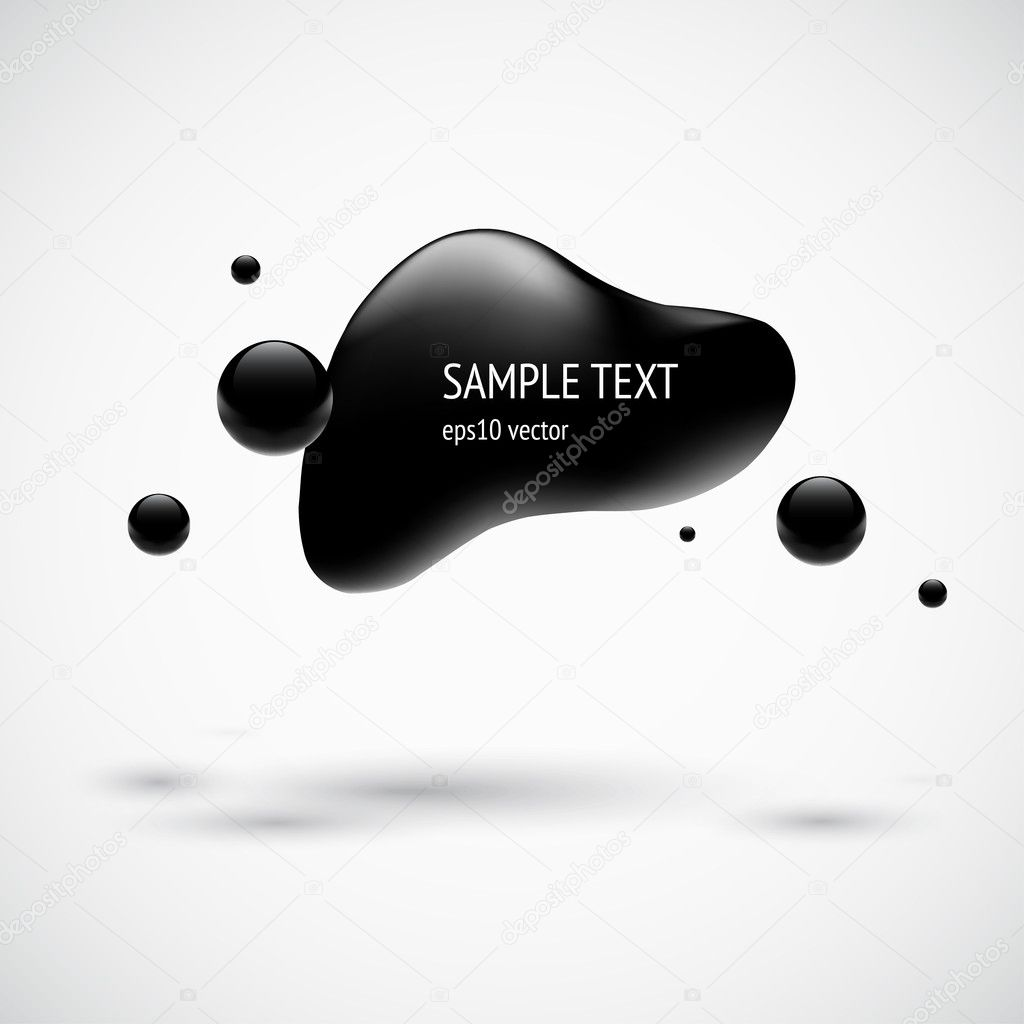 Black glossy modern bubble badge with shadow and light background. Vector illustration.  Stock Vector #11809078
