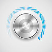 Volume button (music knob) with metal texture (chrome) and scale — Stock Vector