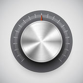 Botón de volumen (perilla de la música) con la textura del metal (aleación de cromo) — Vector de stock