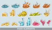 Food sticker elements — Stock Vector