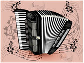 Black accordion — Stock Vector