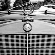 "PAAREN IM GLIEN, GERMANY - MAY 26: The radiator grille and emblem of Mercedes-Benz Type W180 220S (Black and White), ""The oldtimer show"" in MAFZ, May 26, 2012 in Paaren im Glien, Germany — Stock Photo"