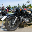 """PAAREN IM GLIEN, GERMANY - MAY 26: The motorcycle with sidecar Ural Retro, """"The oldtimer show"""" in MAFZ, May 26, 2012 in Paaren im Glien, Germany — Stok fotoğraf"""