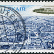 Royalty-Free Stock Photo: LUXEMBOURG - CIRCA 1968: A stamp printed in Luxembourg, represented Luxair Plane over Luxembourg, circa 1968
