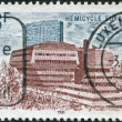 Royalty-Free Stock Photo: LUXEMBOURG - CIRCA 1981: A stamp printed in Luxembourg, represented European Hemicycle, Kirchberg, circa 1981