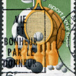 "LUXEMBOURG - CIRCA 1980: A stamp printed in Luxembourg, represented sports equipment and the slogan ""Sport for All"", circa 1980 — Stock Photo #11972145"