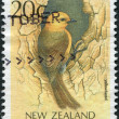 NEW ZEALAND - CIRCA 1988: Postage stamps printed in New Zealand, shows a bird Saddleback (Philesturnus carunculatus), circa 1988 — Stock Photo