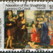 NEW ZEALAND - CIRCA 1984: A stamp printed in New Zealand, dedicated to the Christmas shows Adoration of the Shepherds, by Lorenzo Di Credi, circa 1984 — Stock Photo