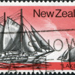 """NEW ZEALAND - CIRCA 1975: A stamp printed in New Zealand, shows a sailboat """"Lake Erie"""", circa 1975 — Stock Photo #11972246"""