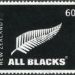 NEW ZEALAND - CIRCA 2010: Postage stamps printed in New Zealand, shows the emblem of All Blacks - New Zealand national rugby union team, circa 2010 — Stock Photo #11972250