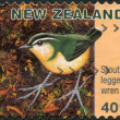 NEW ZEALAND - CIRCA 1996: Postage stamps printed in New Zealand, shows a bird Stout-legged Wren or Yaldwin's Wren (Pachyplichas yaldwyni), circa 1996 — Stock Photo