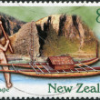 NEW ZEALAND - CIRCA 1997: Postage stamps printed in New Zealand, shows Kupe, a Maori mythology Polynesian discoverer of New Zealand, circa 1997 — Stock fotografie