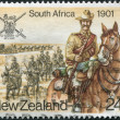 Stock Photo: NEW ZEALAND - CIRC1984: Postage stamps printed in New Zealand, is devoted to Military History, South Africa, Anglo-Boer War, shows trooper, circ1984
