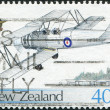 NEW ZEALAND - CIRCA 1987: Postage stamps printed in New Zealand, dedicated to the 50th anniversary of the Royal NZ Air Force, shows single-engined British biplane Avro 626, circa 1987 — Stock Photo