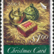 Stock Photo: NEW ZEALAND - CIRCA 2005: A stamp printed in New Zealand, is dedicated to Christmas, the gifts of the Magi is depicted - Gold, Frankincense, Myrrh, circa 2005