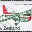 NEW ZEALAND - CIRCA 1974: Postage stamps printed in New Zealand, dedicated to the development of New Zealand's air transport, aircraft depicted Bristol freighter, circa 1974 - Stock Photo