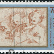 NEW ZEALAND - CIRCA 1977: A stamp printed in New Zealand, is dedicated to Christmas, is depicted Holy Family by Correggio, circa 1977 — Stock Photo #11973650