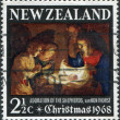 NEW ZEALAND - CIRCA 1968: A stamp printed in New Zealand, dedicated to the Christmas, shows Adoration of the Holy Child by Gerard van Honthorst, circa 1968 — Φωτογραφία Αρχείου