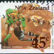 Royalty-Free Stock Photo: NEW ZEALAND - CIRCA 1995: A stamp printed in New Zealand, is dedicated to the 100th anniversary of Rugby League, shows a game between the Australia - New Zealand (Trans Tasman), circa 1995