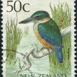 Stock Photo: NEW ZEALAND - CIRC1988: Postage stamps printed in New Zealand, shows bird Kingfisher, circ1988