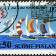 FINLAND - CIRCA 1971: A stamp printed in Finland, is dedicated to International Lightning Class Championships, Helsinki, shown Sailboats, circa 1971 — Stock Photo